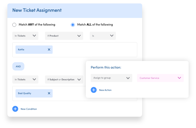 Smart ticket assignment with JustDesk